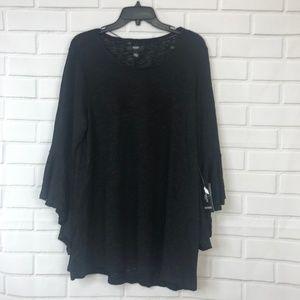 Alfani Womens Sweater Thin Knit Black 3/4 Sleeve